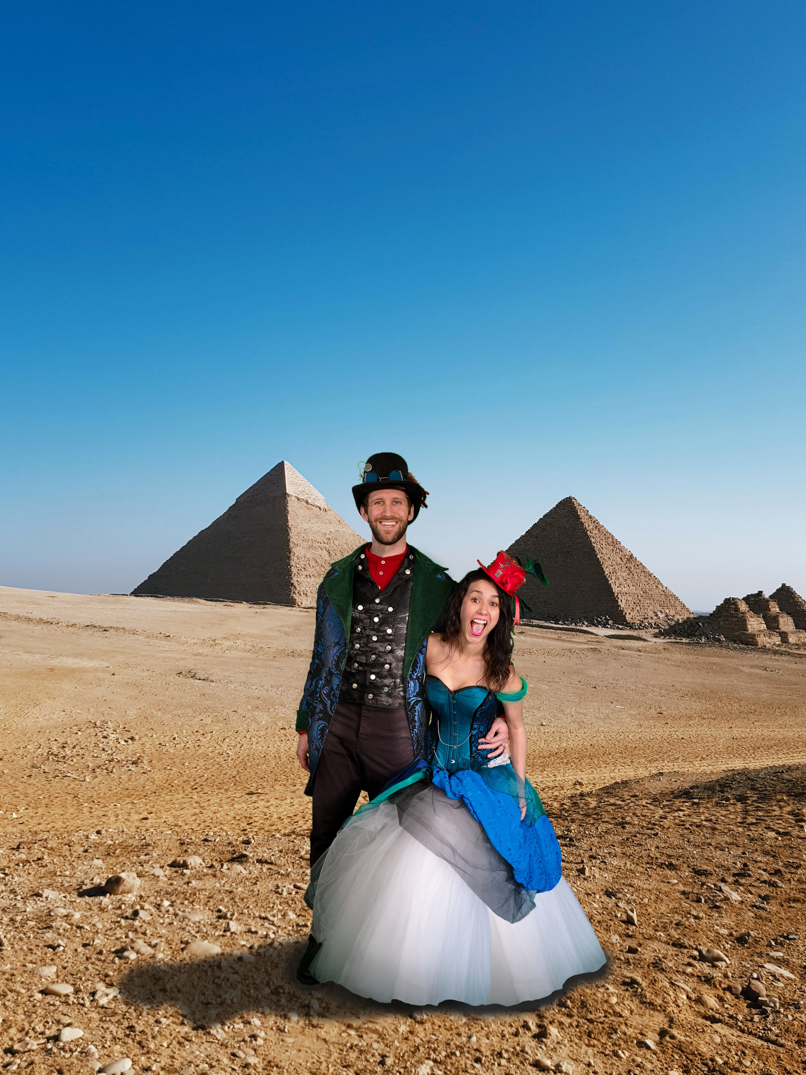 great pyramids in the distance behind man and woman looking excited